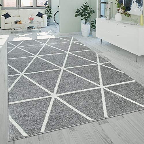 Paco Home Kurzflor Teppich Grau Weiß Wohnzimmer Rauten Muster Skandi Design Weich Robust, Grösse:120x170 cm -