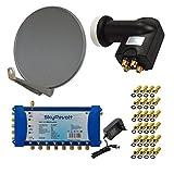 PremiumX DELUXE100 Antenne 100 cm ALU Anthrazit + SkyRevolt Multischalter SV 5/8 Multiswitch Sat Verteiler + SkyRevolt Quattro LNB HDTV + 24x F-Stecker Digital HD SAT Anlage