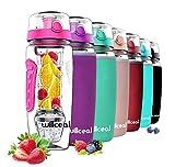 willceal Wasserflasche Mit Fruchteinsatz 945 ml Durable mit abnehmbarem Eisgel-Ball, groß - BPA-freies Tritan, Flip-Deckel, dichtes Design - Sport, Camping (Rosa)