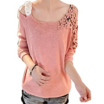 Rrimin Watermelon Red Fashion Womens Vintage Long Sleeve Casual Top Lace Shirt Blouse