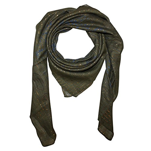 Superfreak® Baumwolltuch Indisches Muster 1 Gold Lurex°Tuch°Schal°100x100 cm°100% Baumwolle, Farbe: grün-oliv (Muster 100% Baumwolle)