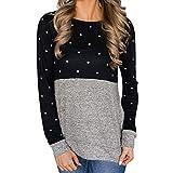 fantaisie en tricot pour les jeunes filles, femmes Dot Impression Patchwork O cou à manches longues Sweatshirt Pull Chemisier, Noir, L