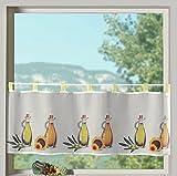Scheibengardine Frühling Schlaufenbistro in gelb Öle mediterran hochwertiger Druck auf Voile in weiß Panneaux HxB 45x120cm Gardine Typ322