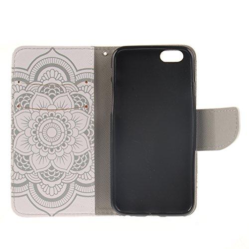 Ooboom® iPhone 8/iPhone 7 Coque PU Cuir Flip Housse Étui Cover Case Wallet Portefeuille Supporter avec Porte-cartes Fermeture Magnétique pour iPhone 8/iPhone 7 - Léopard Totem Fleur Blanc