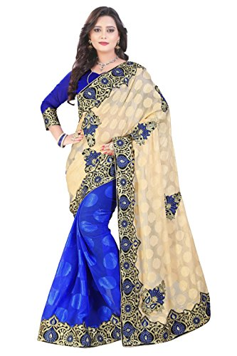 SareeShop Georgette Silk Embroidered Sarees with blouse piece (Blue_Free Size)