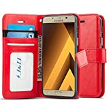 J & D Galaxy A3 (2017) Hülle, [Handytasche mit Standfuß] [Slim Fit] Robust Stoßfest Aufklappbar Tasche Hülle für Samsung Galaxy A3 (Release in 2017) - Rot