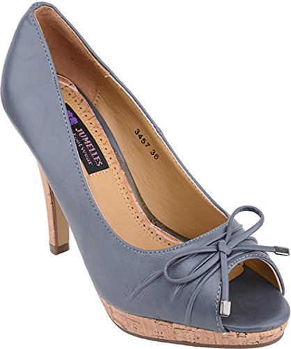 Edle Pin Up PEEP TOES 50s Bow High Heels mit Korkabsatz - Grau Rockabilly