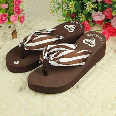 zhENfu Scarpe donna PVC tacco piatto infradito pantofole per esterno nero / marrone / rosso Brown