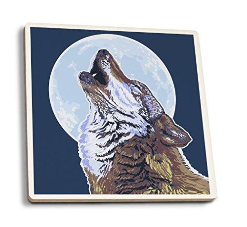 Wolf heult Mond, keramik, mehrfarbig, 4 Coaster Set Wolf Coaster Set