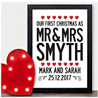 Personalised Couples Christmas Gifts First Christmas as Mr & Mrs Wife Husband - PERSONALISED with ANY NAME and ANY RECIPIENT - Black or White Framed A5, A4, A3 Prints or 18mm Wooden Blocks