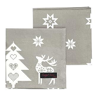Ragged Rose – Natalie – Servilletas de Algodón Navidad (4 Unidades), Color Gris y Blanco – 40 x 40 cm