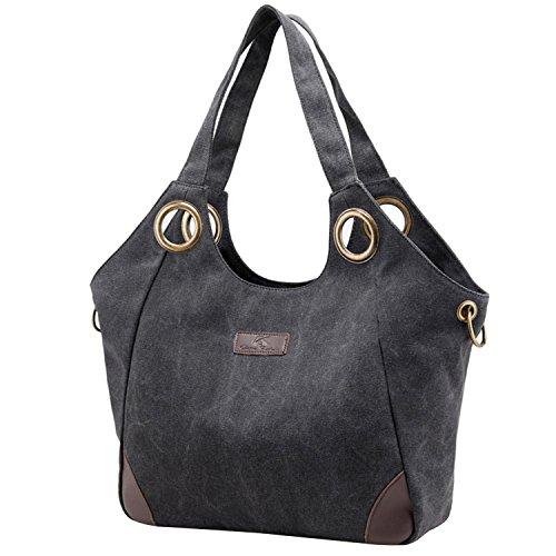 PB-SOAR Vintage Damen Canvas Große Schultertasche Umhängetasche Shopper Henkeltasche Handtasche Hobo Bag Beuteltasche Freizeittasche, 6 Farben auswählbar (Grau) Schwarz