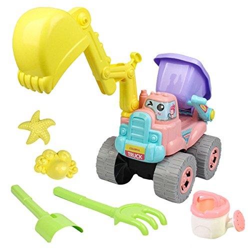 AiSi 6Pcs Kinder Strandspielzeug Sand Spielset Sandspielzeug für Strand Spielplatz, Schaufel Sandförmchen Absetzkipper (schaufelbagger) Gießkanne, Baby Mädchen Jungen ab 3