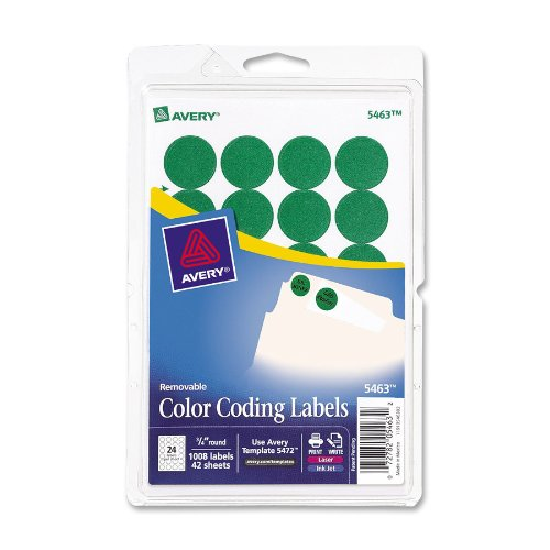 Avery Print/Write Self-Adhesive Removable Labels, 0.75 Inch Diameter, Green, 1008 per Pack (5463) by Avery