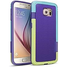 Galaxy S6 Funda - [Ultra Hybrid] HanLuckyStars Funda Carcasa Case TPU Matte Shell Exact Bumper Tope Shock Protección Gota Anti-Arañazos , Choque Absorción Borrar Espalda para Samsung Galaxy S6 (Púrpura)