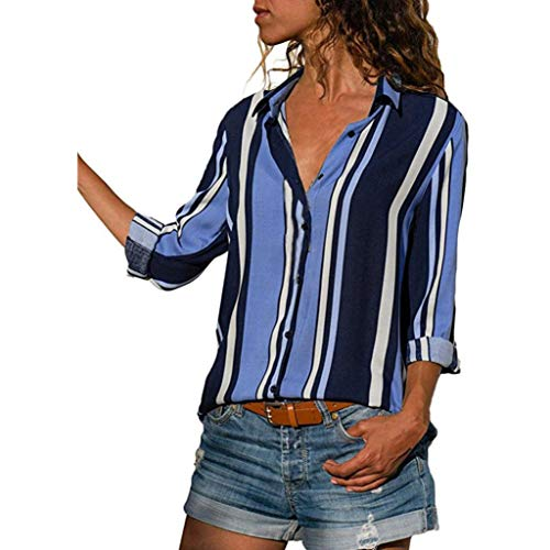 ITISME FRAUEN BLUSE Damen Casual Langarm Farbblock Streifen Button Bluse Damen Hemd Gestreift Oberteile Casual Chiffon Langarm T-Shirt Top Tunika Elegant Langarmshirt Schlank Blusen
