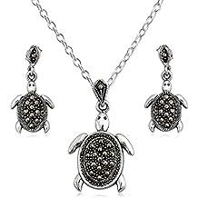 EYS JEWELRY® juego de joyas para señora tortuga 32 x 22 mm Marcasita plata de ley 925 gris con la caja collar pendientes mujer