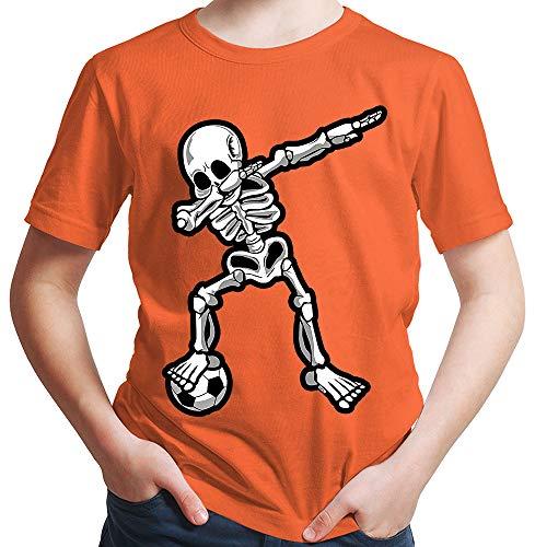 HARIZ  Jungen T-Shirt Dab Skelett mit Fussball Dab Teenager Dance Weihnachten Plus Geschenkkarten Orange 140/9-11 Jahre