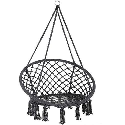 Detex Hängesessel 150kg 2 Stahlringe Sitzpolster geflochten Hängestuhl Hängekorb Schaukelkorb Garten Indoor Anthrazit