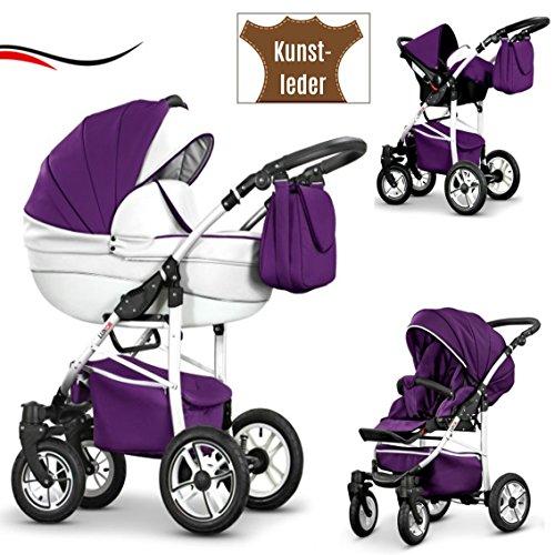 16 teiliges Qualitäts-Reisesystem 3 in 1 'COSMO-ECO' - KUNSTLEDER: Kinderwagen + Buggy + Autokindersitz + Schwenkräder - Mega-Ausstattung - all inclusive Paket in Farbe (CE-17) WEIß-LILA KUNSTLEDER-WEIß