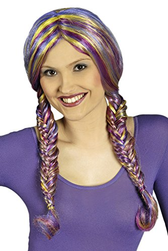 Kostüm Perücke Magenta - Perücke Arabella mit geflochtenen Zöpfen - Lila Magenta Gelb - Mehrfarbige Damen Zopfperücke zu Fantasie Kostümen