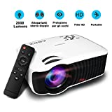 Portatile Proiettore, ABOX 2000 Lumens HD Proiettore Home Theater Projecteur / Mini Multimediale LCD in pieno colore Supporto 1080p HD Video per Backyard Cinema Videogiochi immagine
