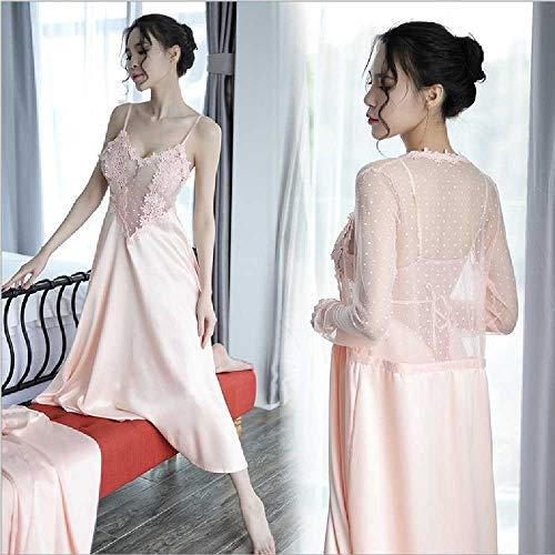 sanjinshangmao Hochwertige ästhetische Set-Tante der gleiche Robe-Kleid-Anzug sexy Satin Lingerie Peau Couleur Sling Jupe + Teint Beau Manteau Bella Sling