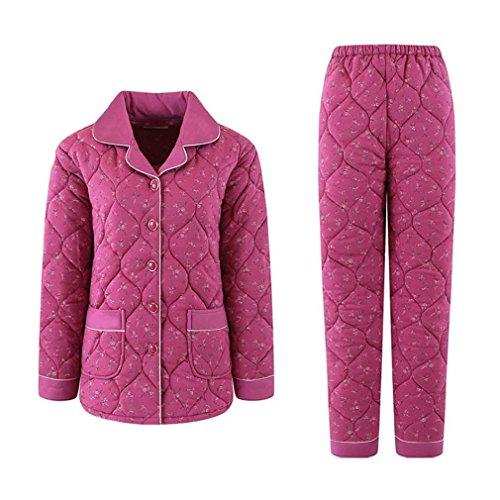 MOXIN Pigiama in micropile da donna piuma caldo pigiama Vestito-Vestaglia Pigiama Invernale Donna?Felpato?Rosa rossa 1225#