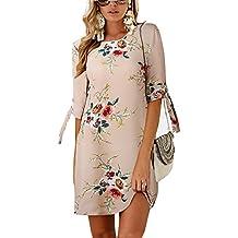 b050bd4aebac3 BienBien Donna Vestito da Giorno Eleganti Estivi Corti Abito Manica 3 4  Camicia Vestiti Sottile