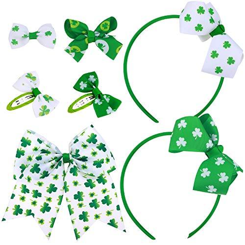 Howaf St.Patrick's Day Haarreife Stirnband grün Kleeblatt haarschleife Haarspangen Haarclips Haargummi Haarschmuck Geschenk für Kinder Mädchen Frauen St. Patrick's Day Kostüm deko Party ()