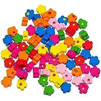 180pcs Mezclados flor cuentas de madera perlas sueltas para DIY Craft Costura Hacer suministros 9,6x 9.8mm