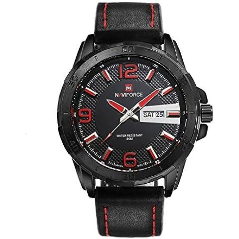 pkaty da uomo Sport Tempo libero in pelle calendario quarzo di fascia alta vita Watch-Black