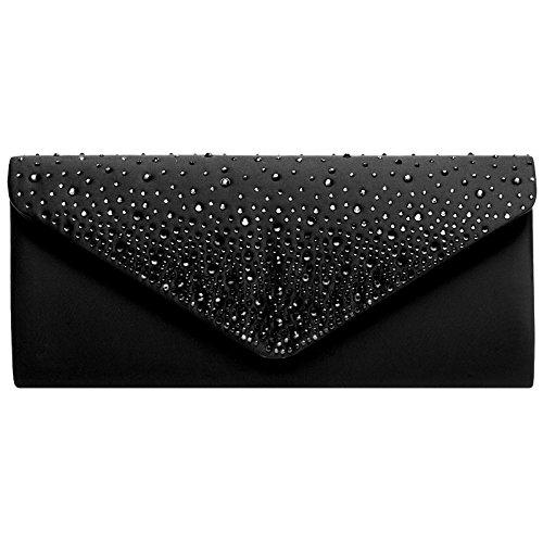 Caspar ta422 donna pochette lunga elegante con strass, colore:nero;dimensioni:taglia unica