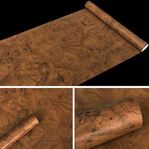 lovefaye braun Holzmaserung Kontakt Papier PVC Selbstklebend Regalen Schrank Tür Aufkleber 45cm von 9.8Füße