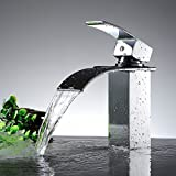 Homdox Design Einhebel Wasserhahn Armatur Waschtischarmatur Wasserfall Einhandmischer für Badezimmer Waschbecken