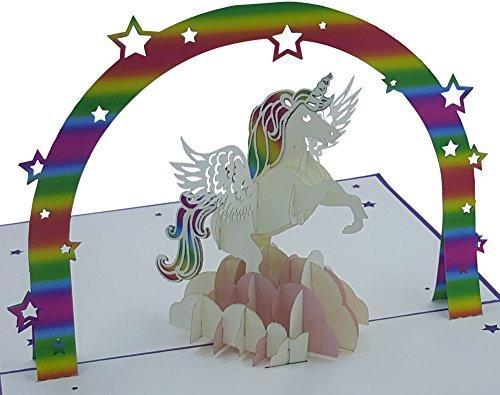 3D Geburtstagskarte - Motiv: Einhorn - Pop-Up-Karten - handgefertigt - inclusive Umschlag und...