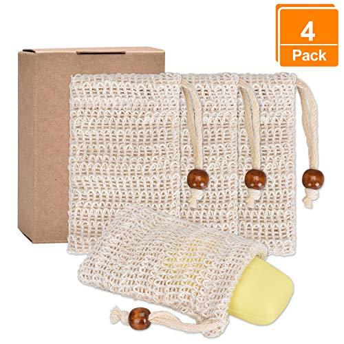 Lelengder 4x Seifensäckchen Bio, Seifensäckchen Sisal, Seifenbeute Natur, Aufschäumen und Trocknen der Seife, Peeling, Massage, Seifenbeutel | Seifensack | Seifenreste | Seifentasche