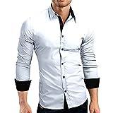 Xmiral Herrenhemd Top Herbst Casual Formal Color Block Slim Fit Langarmbluse Gut aussehend Gentleman Arbeitskleidung(L,Weiß)