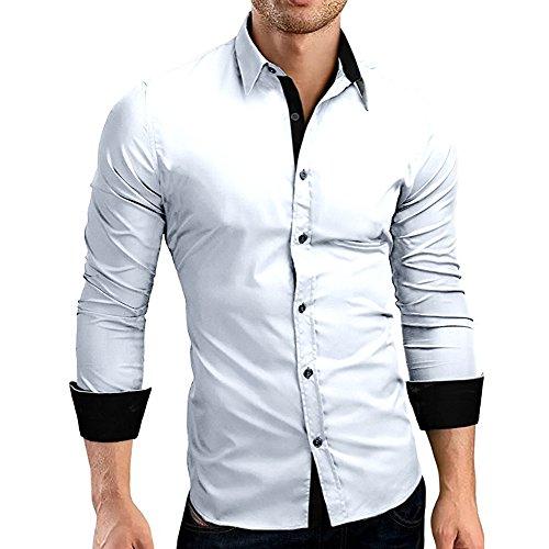HULKY Vendita Camicia Uomo, Manica Lunga Bavero T Shirt Formale Slim Fit Top Camicetta Camicie e casacche Venerdì Nero...