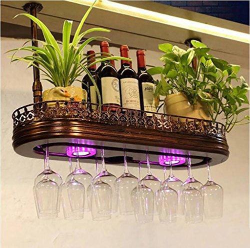 JT Weinregal Weinregal Rot/Retro Theke Weinbar Rot/Glasrahmen/American Weinhalter mit Licht Getränkehalter, Glas, L80*W28cm