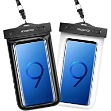 MoKo Funda Impermeable - [2-Pack] Waterproof Case Universal Brazalete y Correa de Cuello para iPhone 7/ 7 Plus/ iPhone 6s/ 6s Plus/ P7 P8 P9 y Smartphone 5.7 Pulgadas, Negro + Blanco
