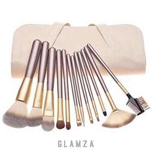 Glamza Pro Lot de 12 pinceaux de maquillage Champagne visage sourcils Contour des Lèvres dans un étui Blanc