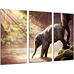 Cuadro Moderno Fotografico Atardecer Lago Naturaleza Animal Cria Elefante y Madre, 97 x 63 cm, ref. 26925