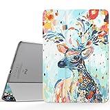 MoKo Hülle für iPad Pro 9.7 - PU Leder Tasche Schutzhülle Schale Smart Case mit Translucent Rücken Deckel, mit Auto Schlaf/Wach Funktion und Stanfunktion, Aprikose Blumen