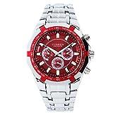 XLORDX Curren Analog Herren Uhr schwarz Quarzuhr Edelstahl Silber Armbanduhr Rot
