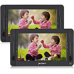 Pumpkin Reproductor DVD CD Portátil Coche con 2 Pantallas 10.1 Pulgadas LED Multimedia para Resposacabezas de Coche soporta USB y Tarjeta SD, Color Negro