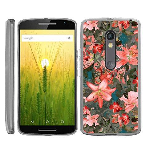 turtlearmor | Motorola X Play Schutzhülle | Motorola Droid Maxx 2Fall [flexibel Armor] Ultra Slim Compact klar Flexible TPU Schutzhülle mit weichem Bumper Cover Girl Design -, Captivating Pink Floral