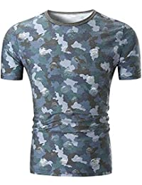 b339ebd51 waotier Camiseta De Manga Corta para Hombre Camiseta con Camuflaje  Personalizado Impreso para Hombre Ropa Hombre