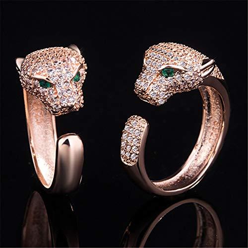 Schmuck Leopard Vollbohrer Ring Öffnungsgröße einstellbar Kreativer Ring Roségold/Platin Ringe Herren Unisex 2St,B