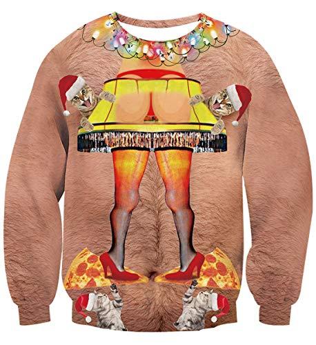 Idgreatim Unisex Funny Bikini Weihnachtsmann Drucken Langarm hässlich Weihnachten Sweatshirts Shirts rot XXL